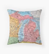 Vintage 1939 Michigan map - meaningful gift idea Throw Pillow