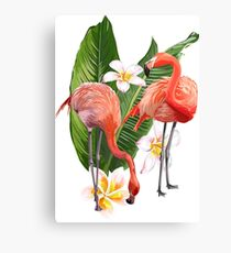Pink Flamingo And Flowers Canvas Print