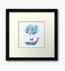 Whale With Balloons - blue Framed Print