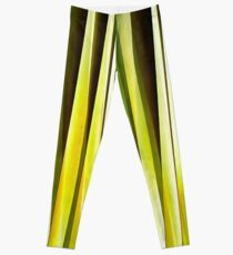 Yellow Ochre and Brown Stripy Lines Pattern Leggings