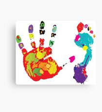 Color footprint and handprint Canvas Print