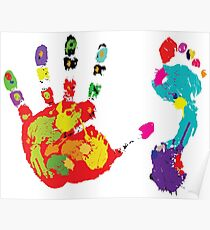 Color footprint and handprint Poster