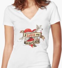 I Love My Border Collie - Lilac Merle Women's Fitted V-Neck T-Shirt