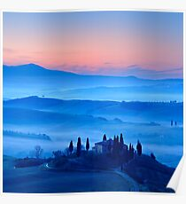 Iconic Tuskany Landscape at Dawn Poster