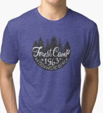 Round Forest Camp Vintage Black And White Tri-blend T-Shirt
