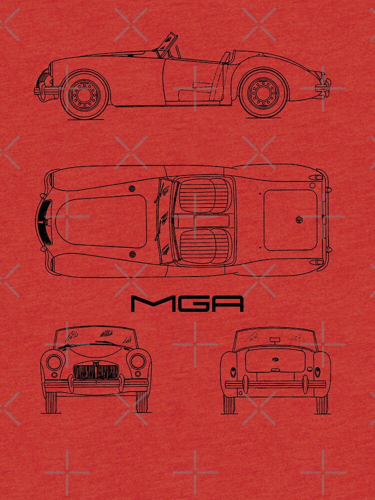 Mga sports car blueprint tri blend t shirt by rogue design redbubble mga sports car blueprint by rogue design malvernweather Image collections