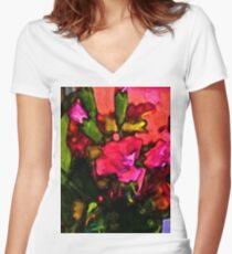 Beautiful Pink Flower with some Green Women's Fitted V-Neck T-Shirt