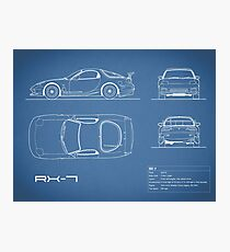 The RX-7 Blueprint Photographic Print