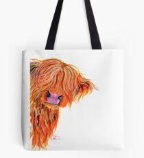 HIGHLAND COW 'PEEKABOO' BY SHIRLEY MACARTHUR Tote Bag