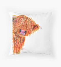HIGHLAND COW 'PEEKABOO' BY SHIRLEY MACARTHUR Throw Pillow