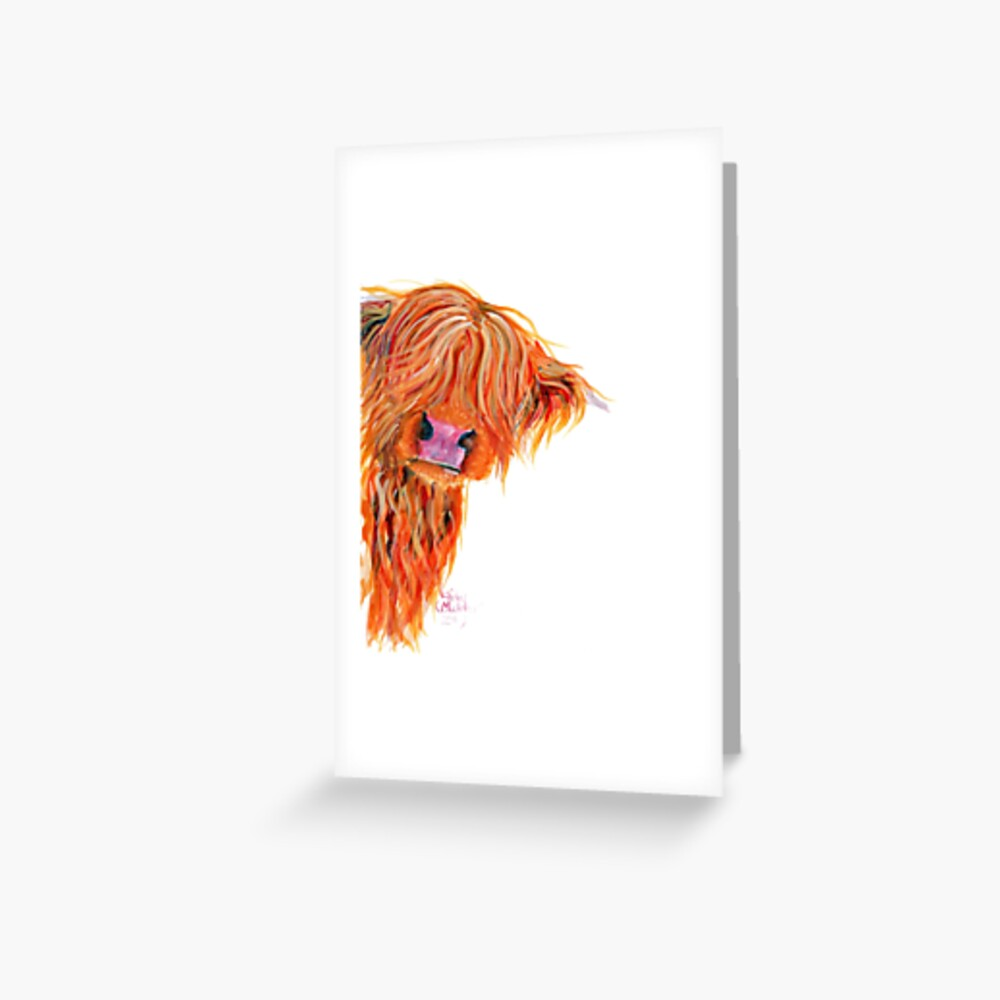 HIGHLAND COW 'PEEKABOO' BY SHIRLEY MACARTHUR Greeting Card