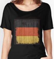 Black Yellow Gold Distressed Wood Effect Textured German Flag Women's Relaxed Fit T-Shirt