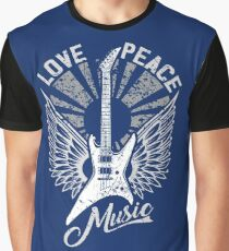 FOR THE LOVE OF MUSIC A GUITAR PLAYER ROCK MUSICIANS DESIGN BLUES GREY Graphic T-Shirt