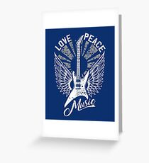 FOR THE LOVE OF MUSIC A GUITAR PLAYER ROCK MUSICIANS DESIGN BLUES GREY Greeting Card