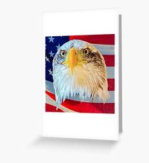 Bald Eagle over Flag Greeting Card