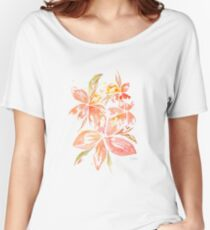 Hawaiian Flowers in Coral Peach Women's Relaxed Fit T-Shirt