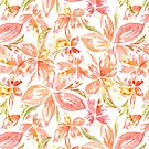 Hawaiian Flowers in Coral Peach by Dina June Toomey