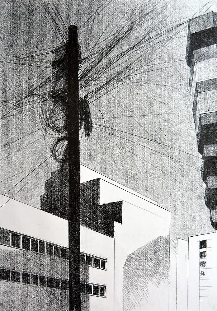 Wireless, 2011, 50-70cm, graphite crayon by oanaunciuleanu