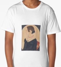 Justus Dalee () MINIATURE PORTRAIT OF WOMAN IN BLACK DRESS WITH LACE COLLAR WEARING RED NECKLACE Long T-Shirt