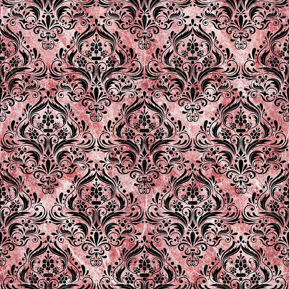 DAMASK1 BLACK MARBLE AND RED AND WHITE MARBLE (R) by johnhunternance