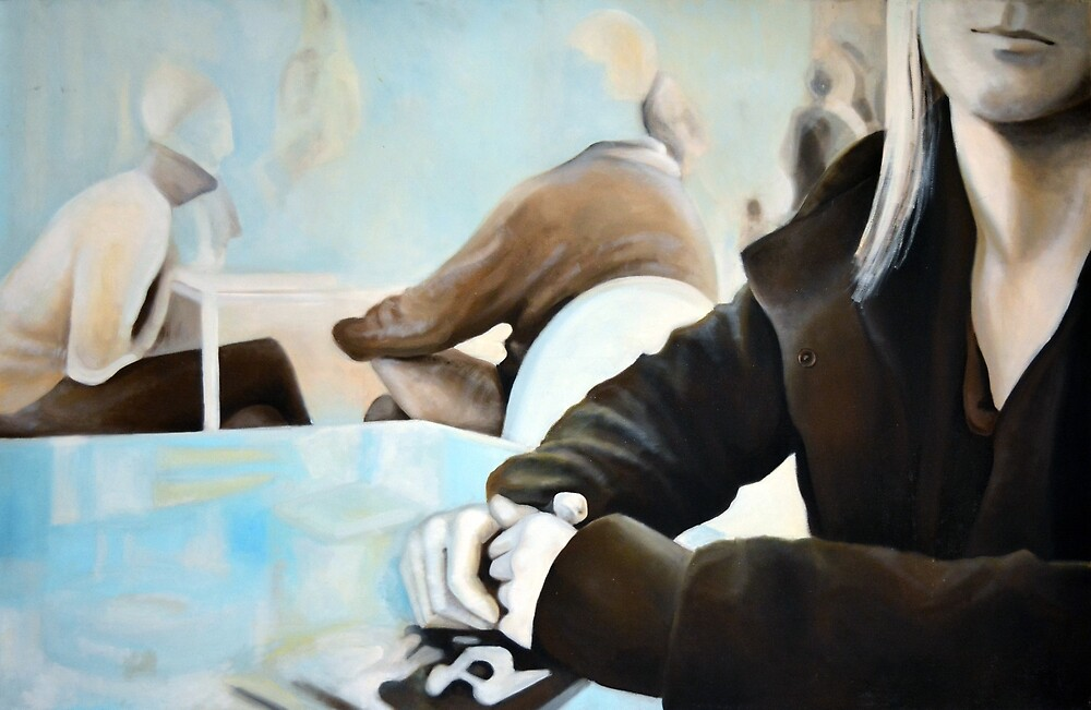Talking, 2011, 120-70cm, oil on canvas by oanaunciuleanu