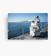 An Mk-38 machine gun system aboard USS Pearl Harbor. Canvas Print
