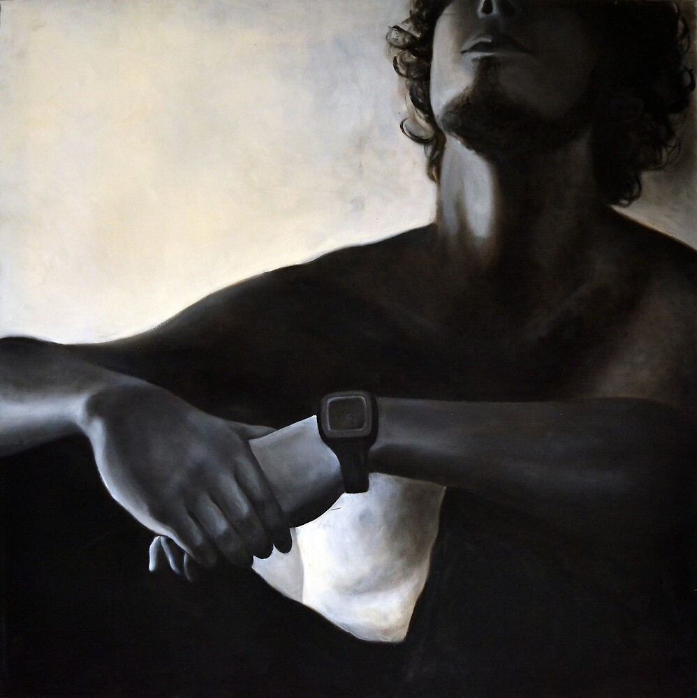 Sitting, 2011, 100-100cm, oil on canvas by oanaunciuleanu
