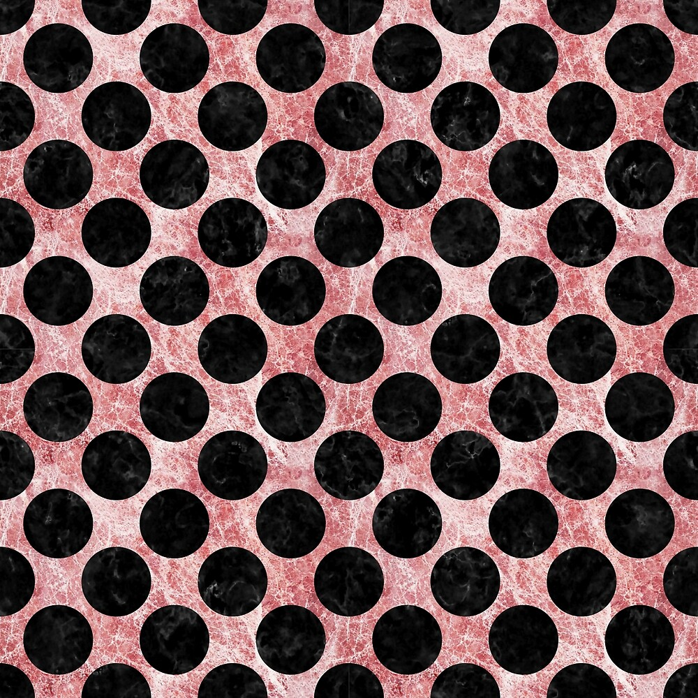 CIRCLES2 BLACK MARBLE AND RED AND WHITE MARBLE (R) by johnhunternance