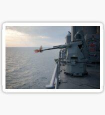 An MK38 MOD 2 25mm machine gun system aboard USS Pearl Harbor. Sticker