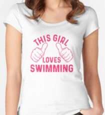 This Girl Loves Swimming Women's Fitted Scoop T-Shirt