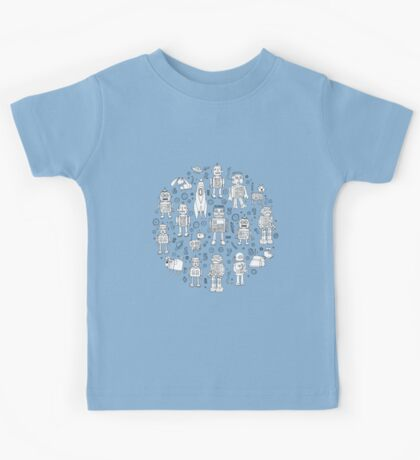 Robot Pattern - white on blue - Fun repeat pattern by Cecca Designs Kids Clothes