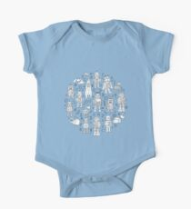 Robot Pattern - white on blue Kids Clothes