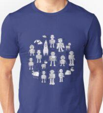 Robot Pattern - white on blue Unisex T-Shirt