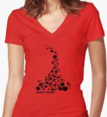 Music fever Women's Fitted V-Neck T-Shirt