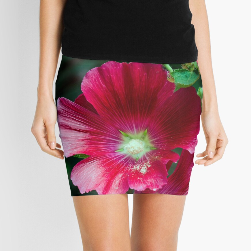 Deep red Hollyhock flowers Mini Skirt