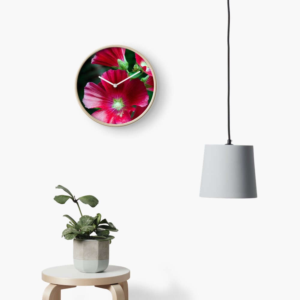 Deep red Hollyhock flowers Clock