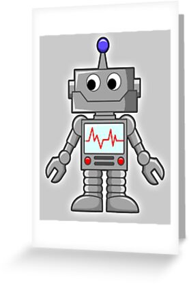 Robot Cartoon Smiley Robotics Toon Greeting Cards By Tom Hill