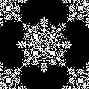 Victorian, Victorians, Tile, Ornament, Design, White on Black by TOMSREDBUBBLE