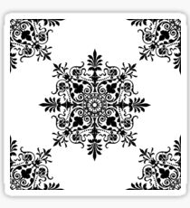 Victorian, Tile, Ornament, Design, Black on White Sticker