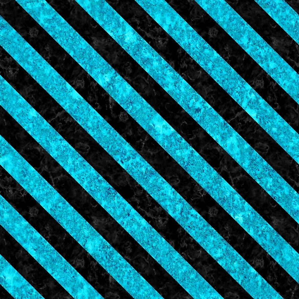STRIPES3 BLACK MARBLE AND TURQUOISE MARBLE (R) by johnhunternance