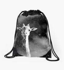 portrait of giraffe Drawstring Bag