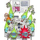 Brain Cell Lab Meeting by Cartoon Neuron