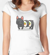 Fun sushi roll dog Women's Fitted Scoop T-Shirt