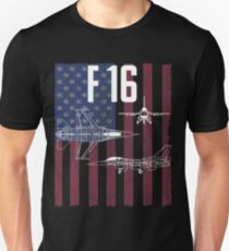 F-16 Fighter Aircraft USA Flag Design Unisex T-Shirt