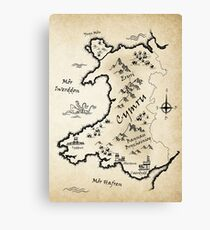 Medieval Map Of Wales - Welsh Canvas Print