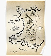 Medieval Map Of Wales - Welsh Poster