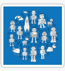 Robot Pattern - white on blue - Fun repeat pattern by Cecca Designs Sticker
