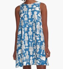 Robot Pattern - white on blue - Fun repeat pattern by Cecca Designs A-Line Dress