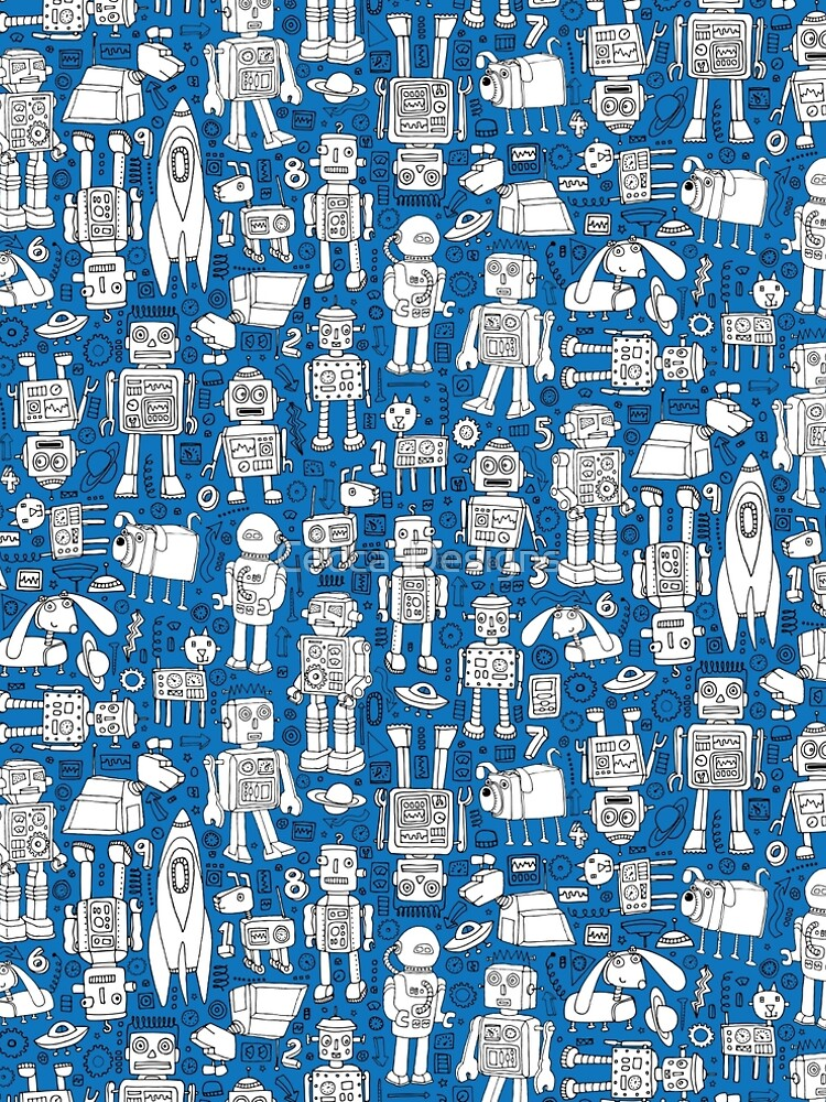 Robot Pattern - white on blue - Fun repeat pattern by Cecca Designs by Cecca-Designs