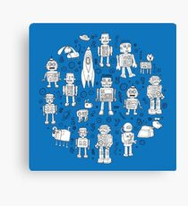 Robot Pattern - white on blue - Fun repeat pattern by Cecca Designs Canvas Print